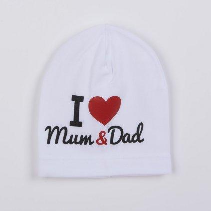 Detská čiapočka New Baby I Love Mum and Dad