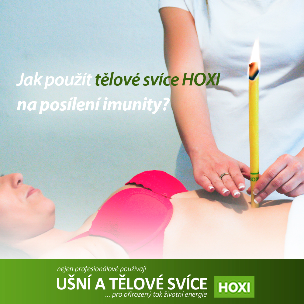 HOXI Ukázka aplikace tělové svíce Hoxi nad pupek