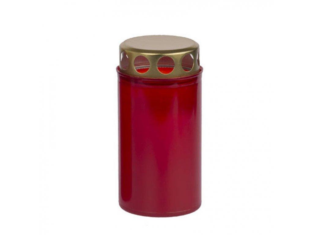 Hřbitovní svíčka 140g s víčkem, červená