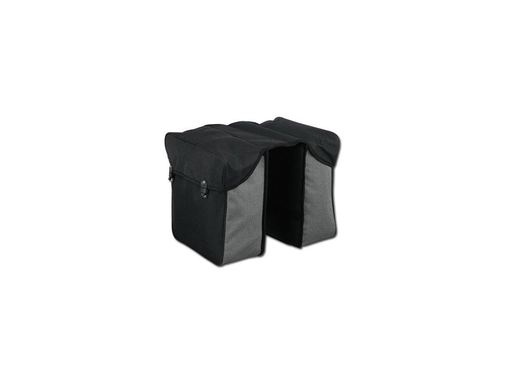 Dvoukomorová polyesterová cyklistická taška na nosič, černá
