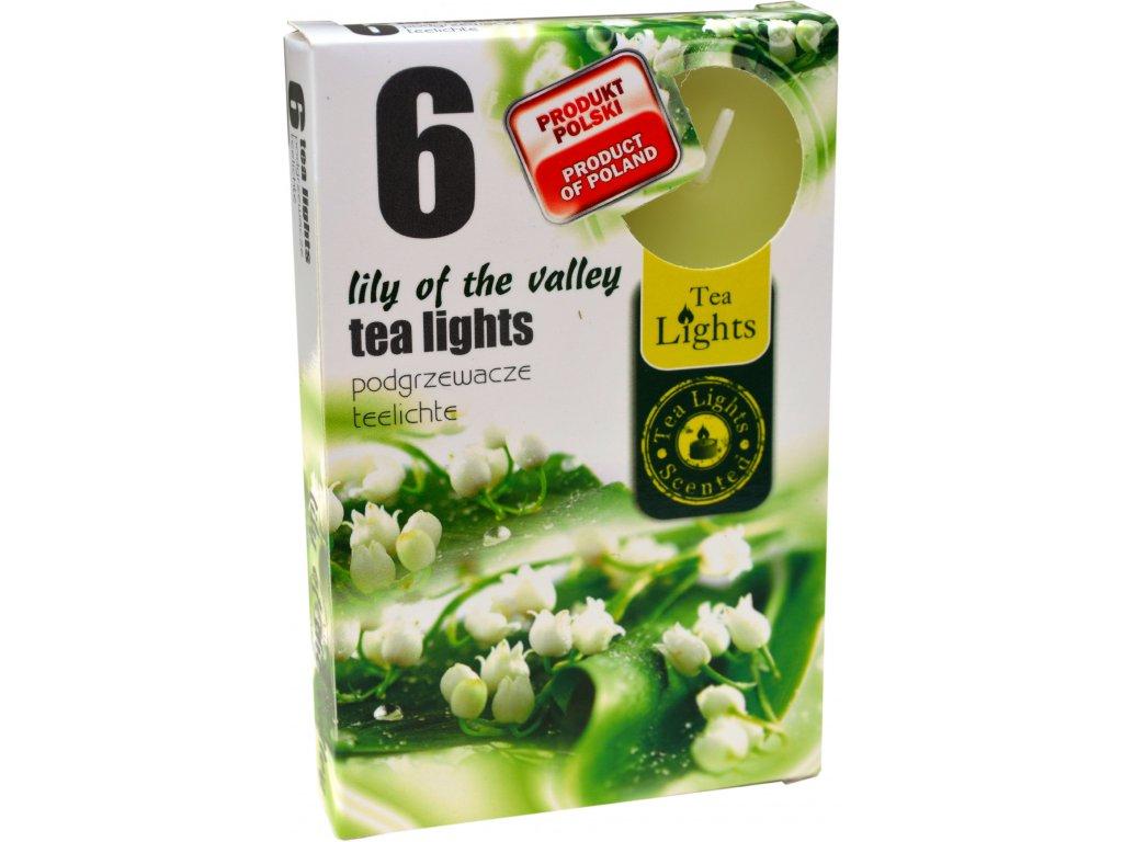 čajové vonné svíčky 6 ks Lily of the valley
