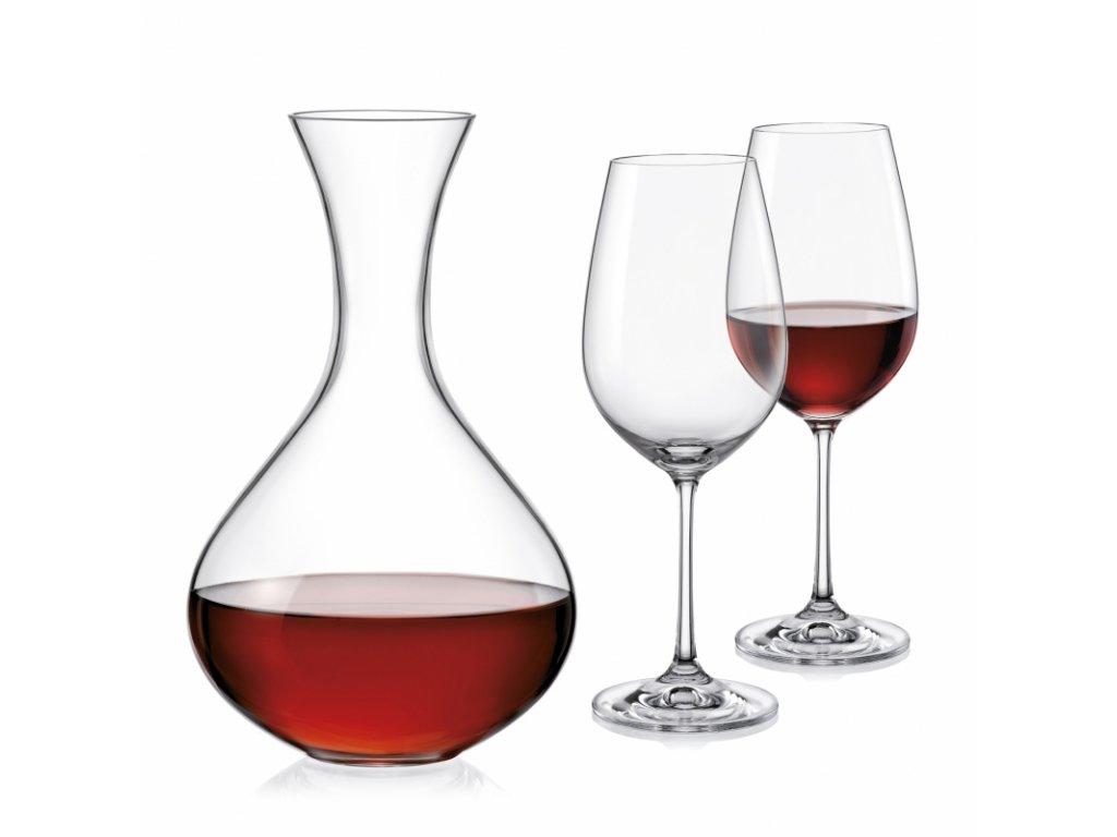 Sada sklenic a karafa Viola wine set, 3ks v setu, bez dekorace 8593401693138