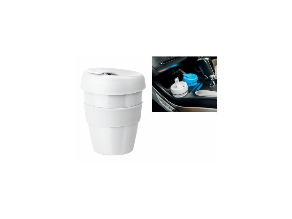 Plastový hrnek na kávu s víčkem a teplu odolným silikon. kroužkem