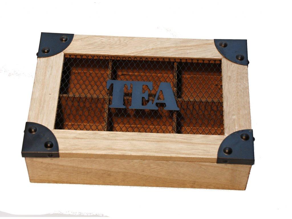 Dřevěná krabička na porcované čaje