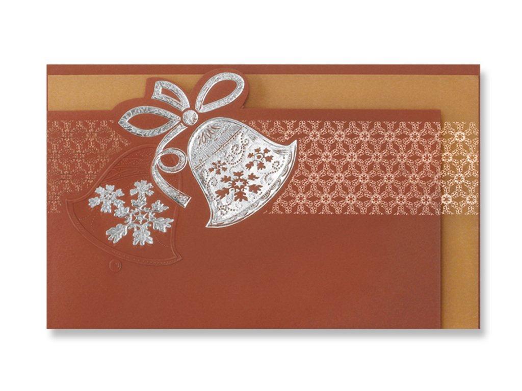 Vánoční přání s obálkou zvonek