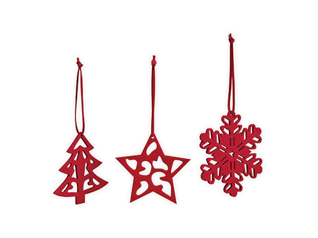 Sada tří vánočních ozdob