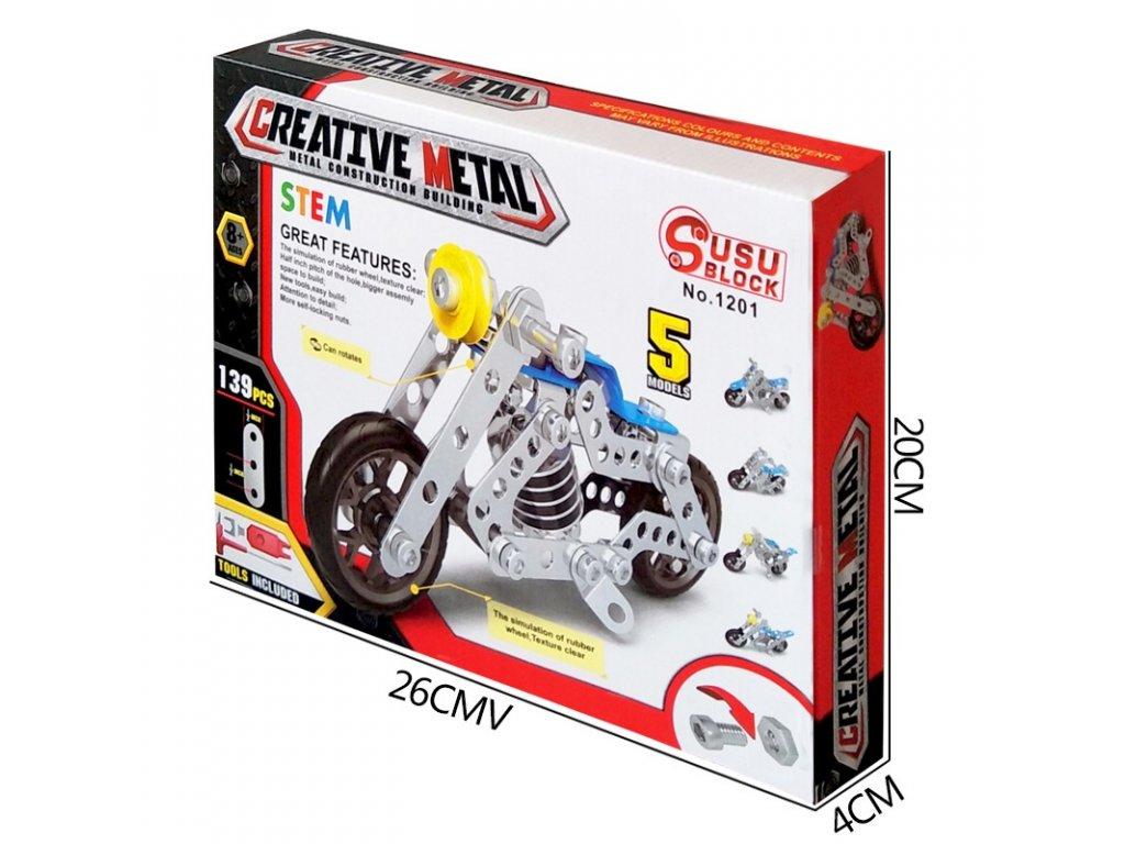 Stavebnice 139 kovových dílů motorky