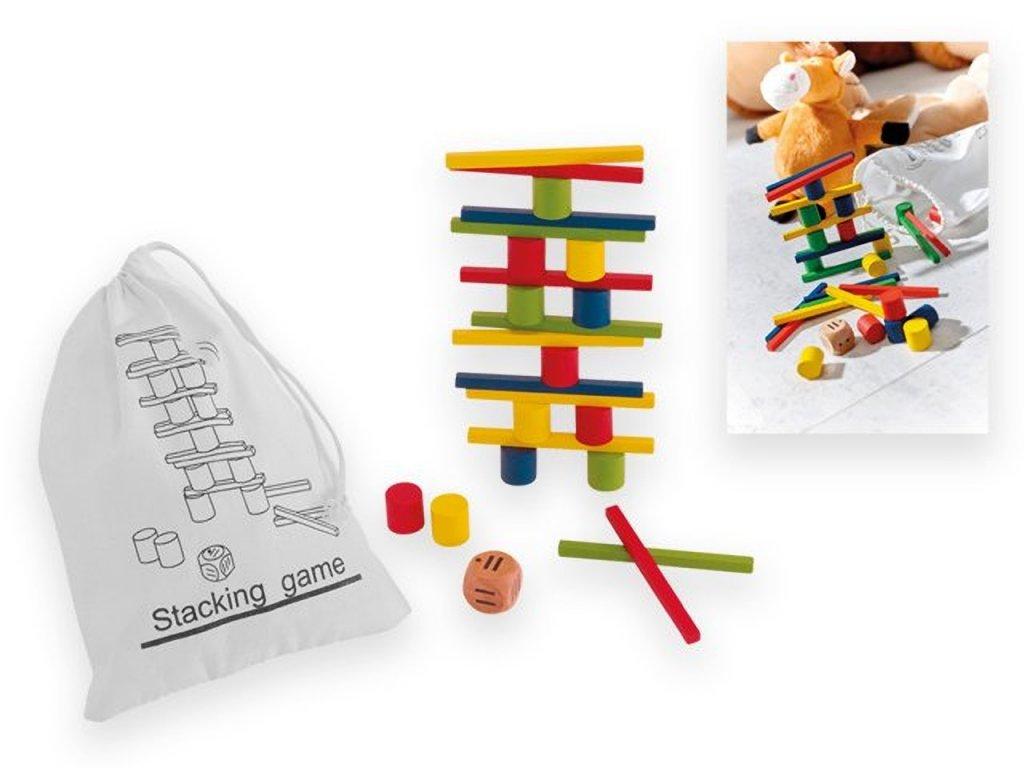 Hlavolam a hra ve dřevě s pytlíkem na uskladnění