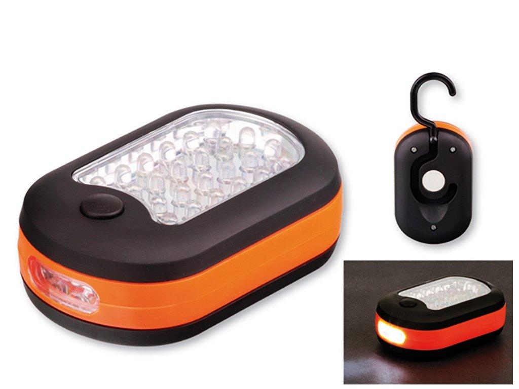 CAMPER plastová 27 LED svítilna se závěsným háčkem a magnetem, Oranžová