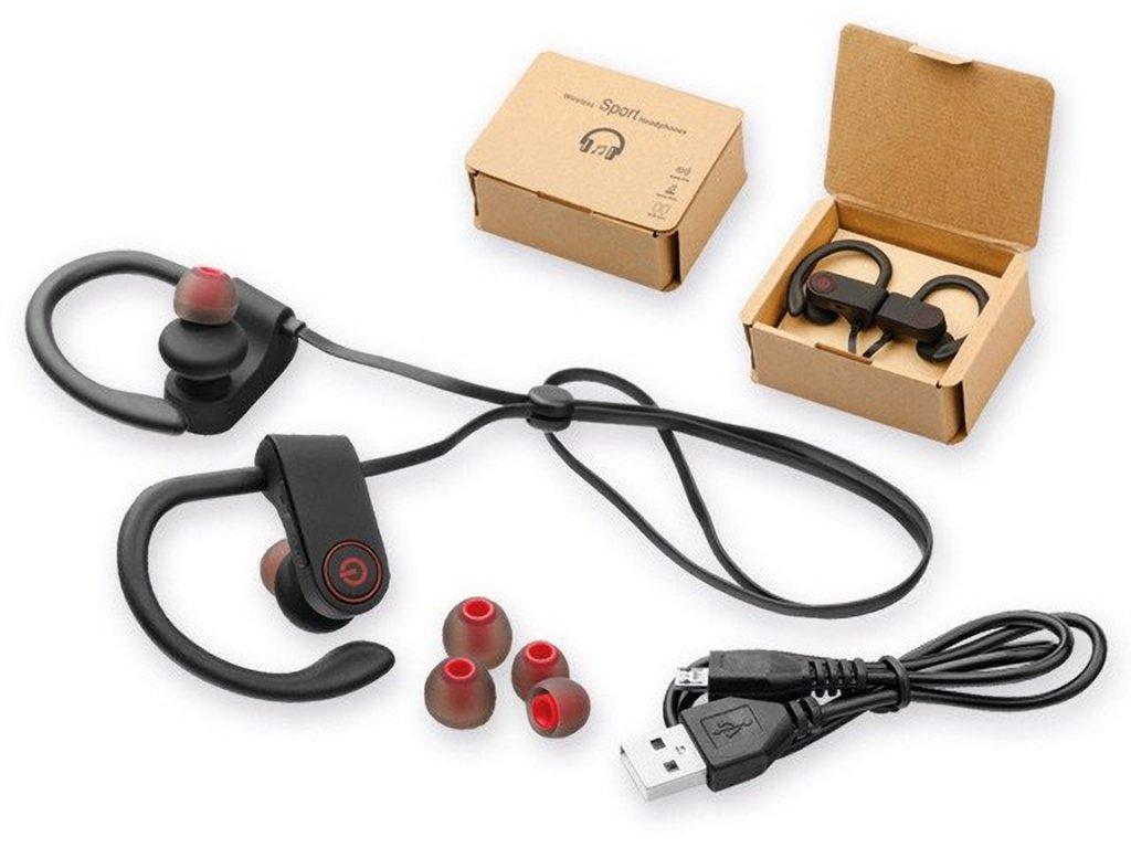 BASS plastová pogumovaná bluetooth audio sluchátka v dárkové krabičce, Černá