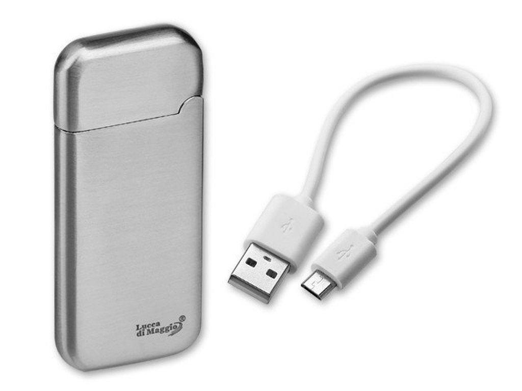 ESCOBAR kovový USB zapalovač se žhavící spirálou a dobíjecím kabelem, Stříbrná