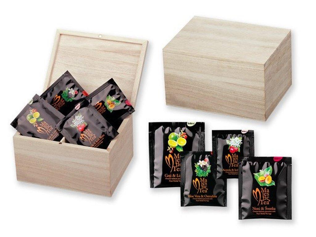 CADDY sada čajů Biogena 4x8 ks v dřevěné krabici, Přírodní