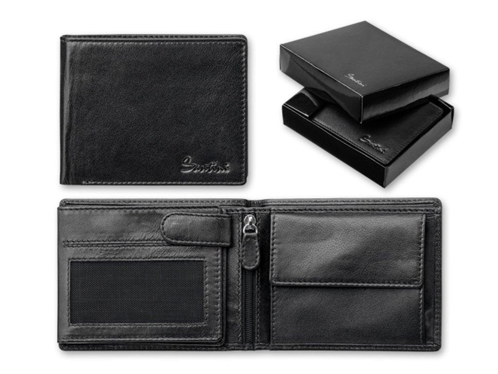 CORNELL černé kožená pánská peněženka, SANTINI 93328 03