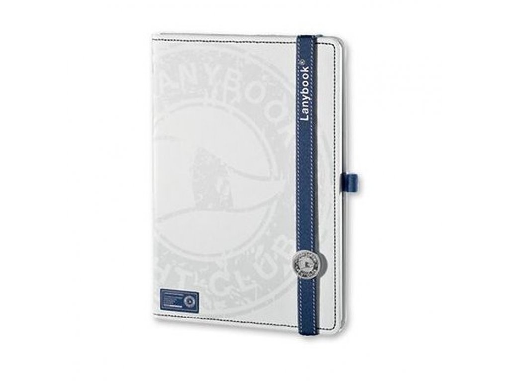 LANYBOOK YACHT CLUB poznámkový linkovaný zápisník s gumičkou 140x205 mm bílý