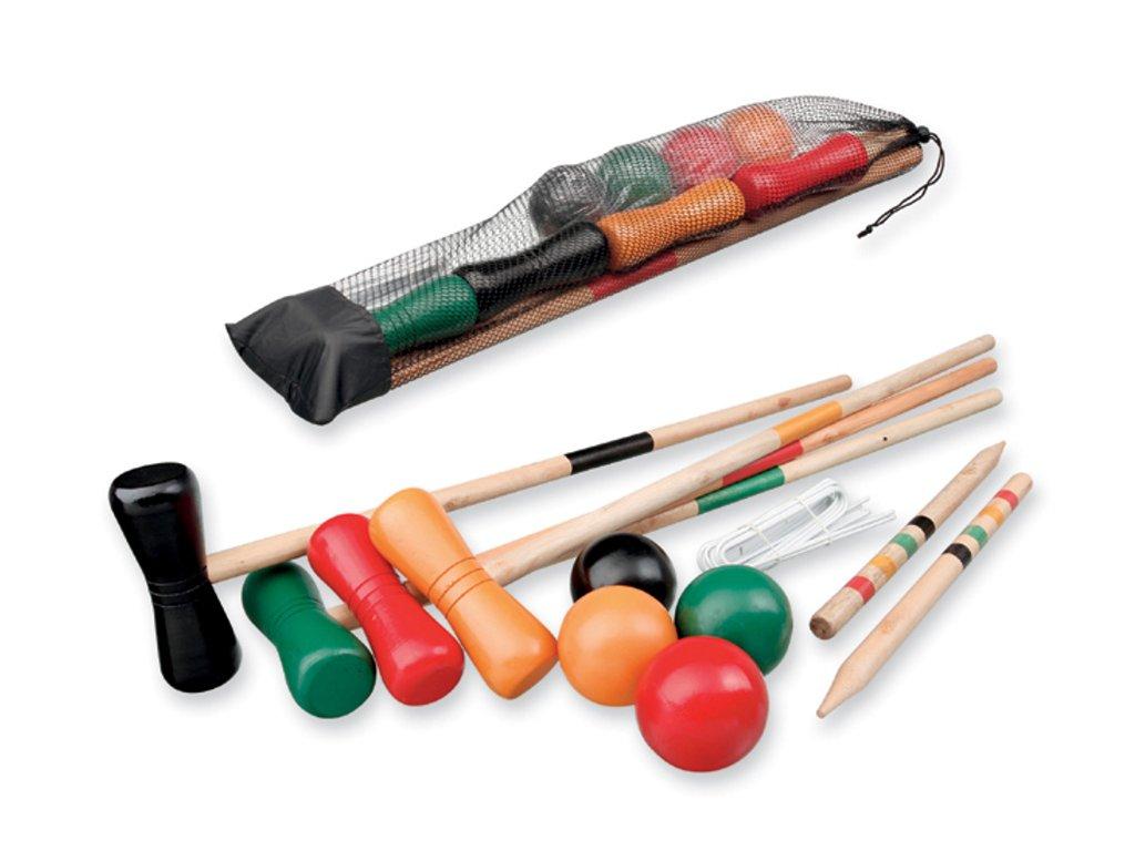 KROKET sada na kroket, 4x hůl, 4x míč, 10x branka, 2x kolík, Vícebarevná 01234 00