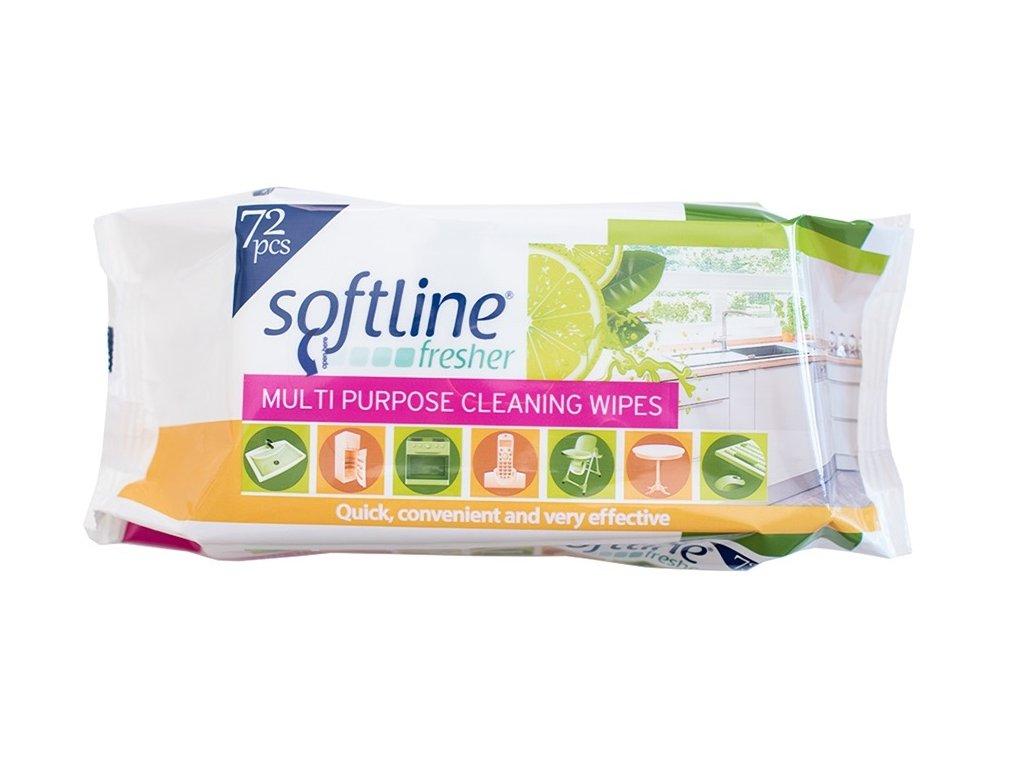 Softline univerzální antibakteriální vlhčené ubrousky pro všechny typy povrchů 72 ks