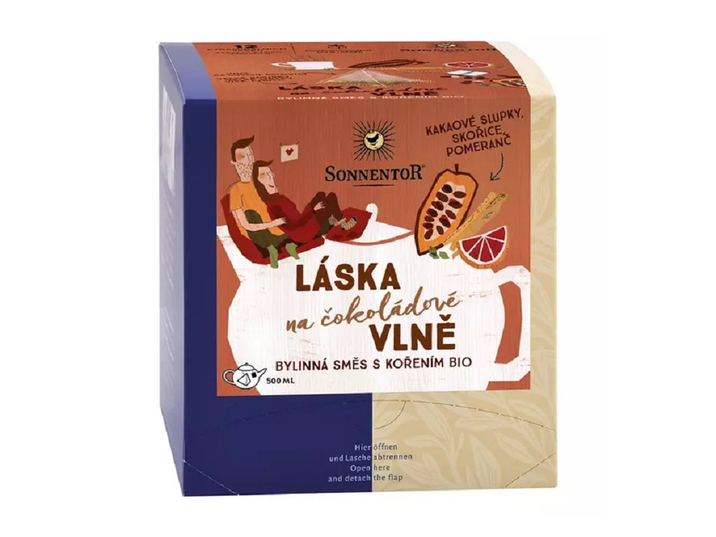 Čaj Láska na čokoládové vlně směs bio 42g porcovaný