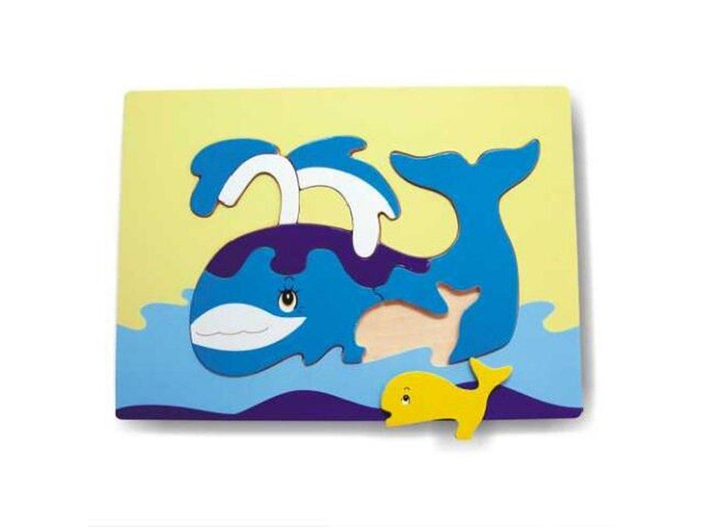 Dřevěné vkládací puzzle velryba