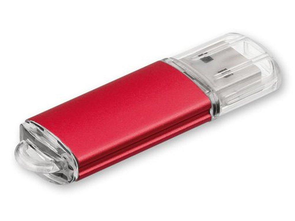 USB FLASH 40 kovový USB FLASH disk 32 GB s plastovým krytem, rozhraní 2.0., Červená