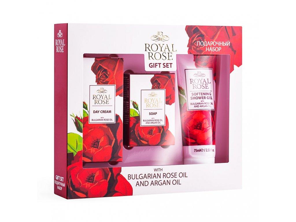 Dárková sada kosmetika s arganovým a růžovým olejem denní krém 30 ml, sprchový gel 75 ml a mýdlo 50 g.