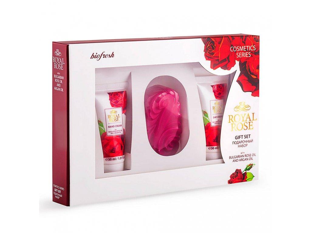 Dárková sada s arganovým a růžovým olejem, denní krém 30 ml, krém na ruce 75 g, mýdlo 50 g
