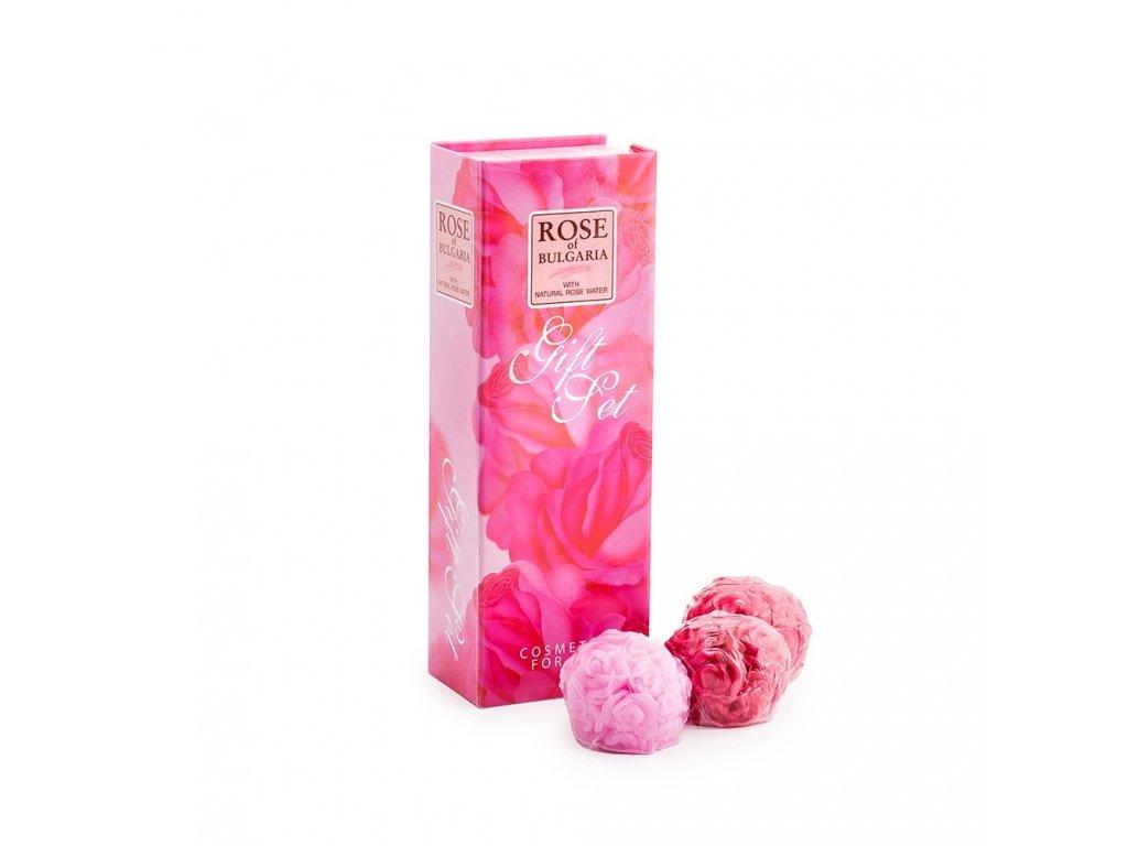 Dárková sada 3x30g mýdlo s růžovou vodou 2