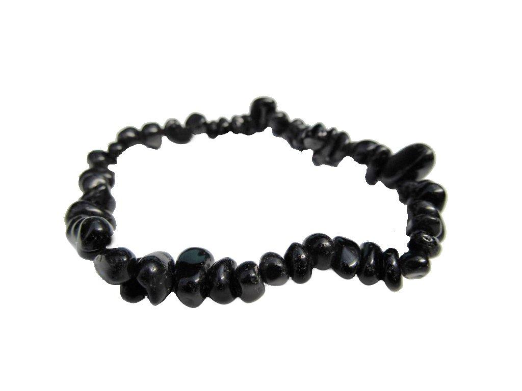 Černý obsidian náramek tromlovaný