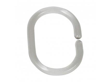 Sada 12 průhledných kroužků na tyč ke sprchovému závěsu