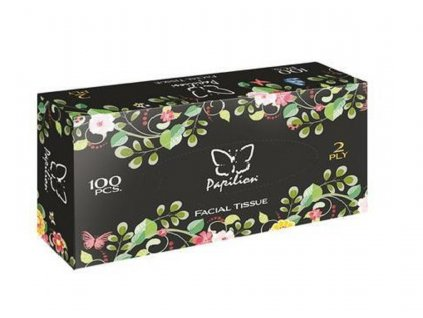 PAPILION Papírové kapesníčky Černé s květinami 100 ks