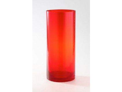 Váza sklo červená válec Cylinder