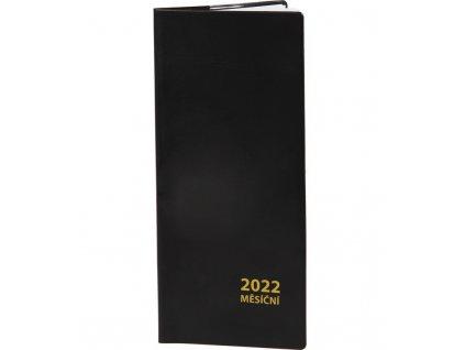 Diář kapesní měsíční PVC 2022 černý