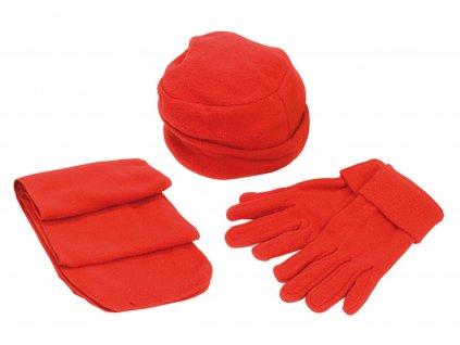 Zimní souprava fleece čepice rukavice šála unisex červená