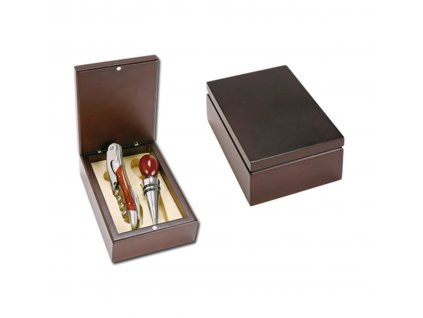 neapol 2dilna sada na vino v drevene darkove krabicce chrom