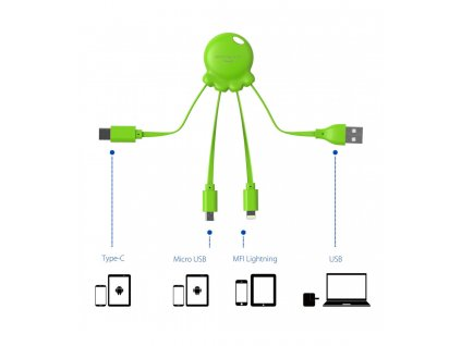 xoopar octopus adaptador usb multi conector con orificio para llavero lima