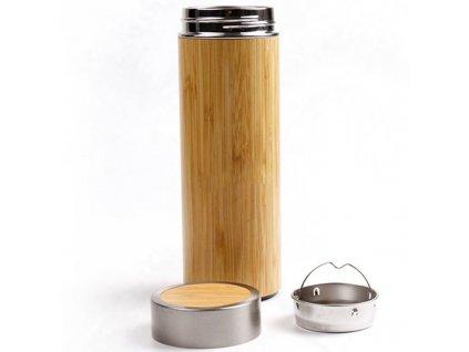 Termoska nerez ocel v bambusovém dřevě 360ml