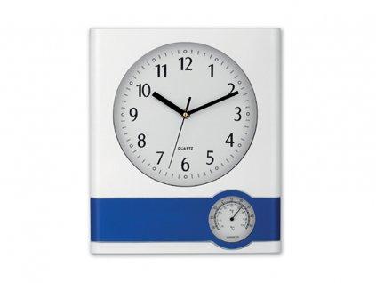 44042 04 SELINA plastové nástěnné hodiny s teploměrem, Modrá