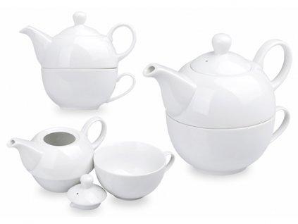 TEASET 2 in 1 porcelánová konvička 2 v 1 konvička 350 ml, hrnek 270 ml, Bílá