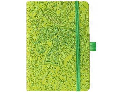 ELEPHANT Poznámkový zápisník s gumičkou, vlepenou kapsou a poutkem na psací potřeby, 240 linkovaných stran. Zelená