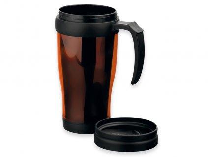 BRASCO plastový termohrnek s dvojitou stěnou, 400 ml, Oranžová
