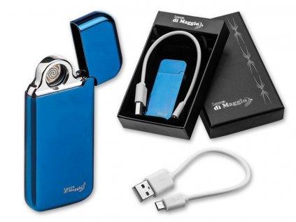 ESCOBAR kovový USB zapalovač se žhavící spirálou a dobíjecím kabelem, Královská modrá