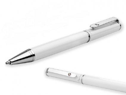 CALIOPE kovové kuličkové pero v dárkové krabičce, SANTINI, Bílá