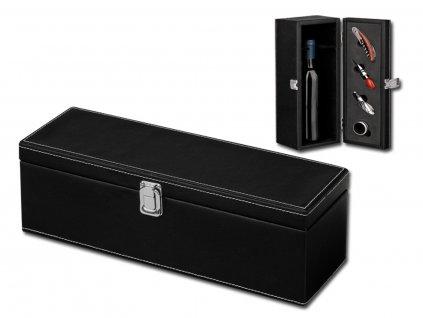 ENRIGUE 4dílná sada na víno v dárkové krabici z imitace kůže na 1 láhev, Černá