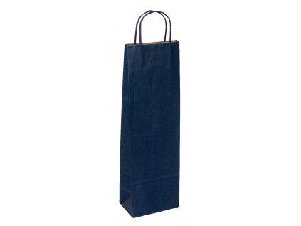 TWISTER papírová dárková taška na víno 39x8x15 cm, modrá