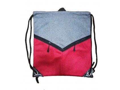 KAMPA batoh stahovací na záda s hlavní kapsou a dvěmi kapsami na zip červený