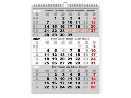 96972 3 MONTH STANDARD WALL CALENDAR 2021 3 M STANDARD nástěnný kalendář, 32x42 cm, R LINE 3 měsíční