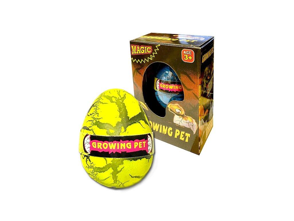 Dinosaurus líhnoucí a rostoucí z vajíčka 6cm v krabičce v 12 ks v boxu (1001) žluté