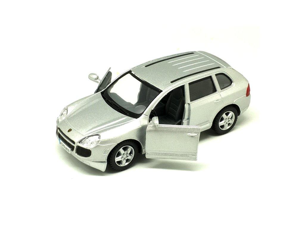 Kinsmart Auto Porsche Cayenne Turbo kov stříbrné