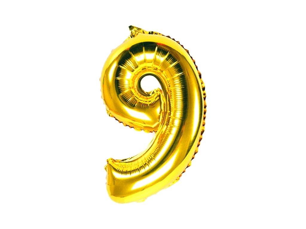 Balónek fóliový narozeniny číslo 9 zlatý 82cm
