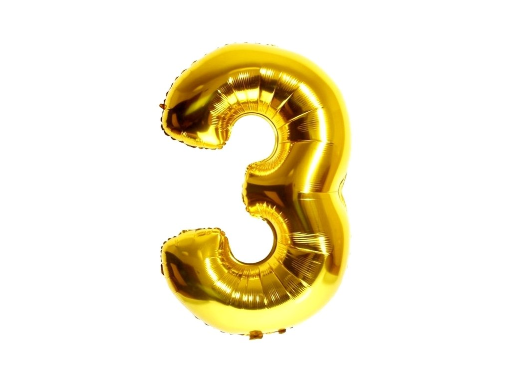 Balónek fóliový narozeniny číslo 3 zlatý 82 cm