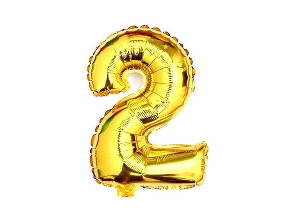 Balónek fóliový narozeniny číslo 2 zlatý 82 cm